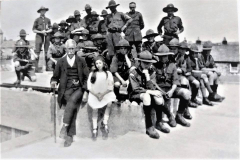 James-Allen-and-either-his-daughter-Leonora-Ham-nee-Allen-and-the-Delabole-boy-scouts-on-the-top-of-Allen-Castle-in-about-1910